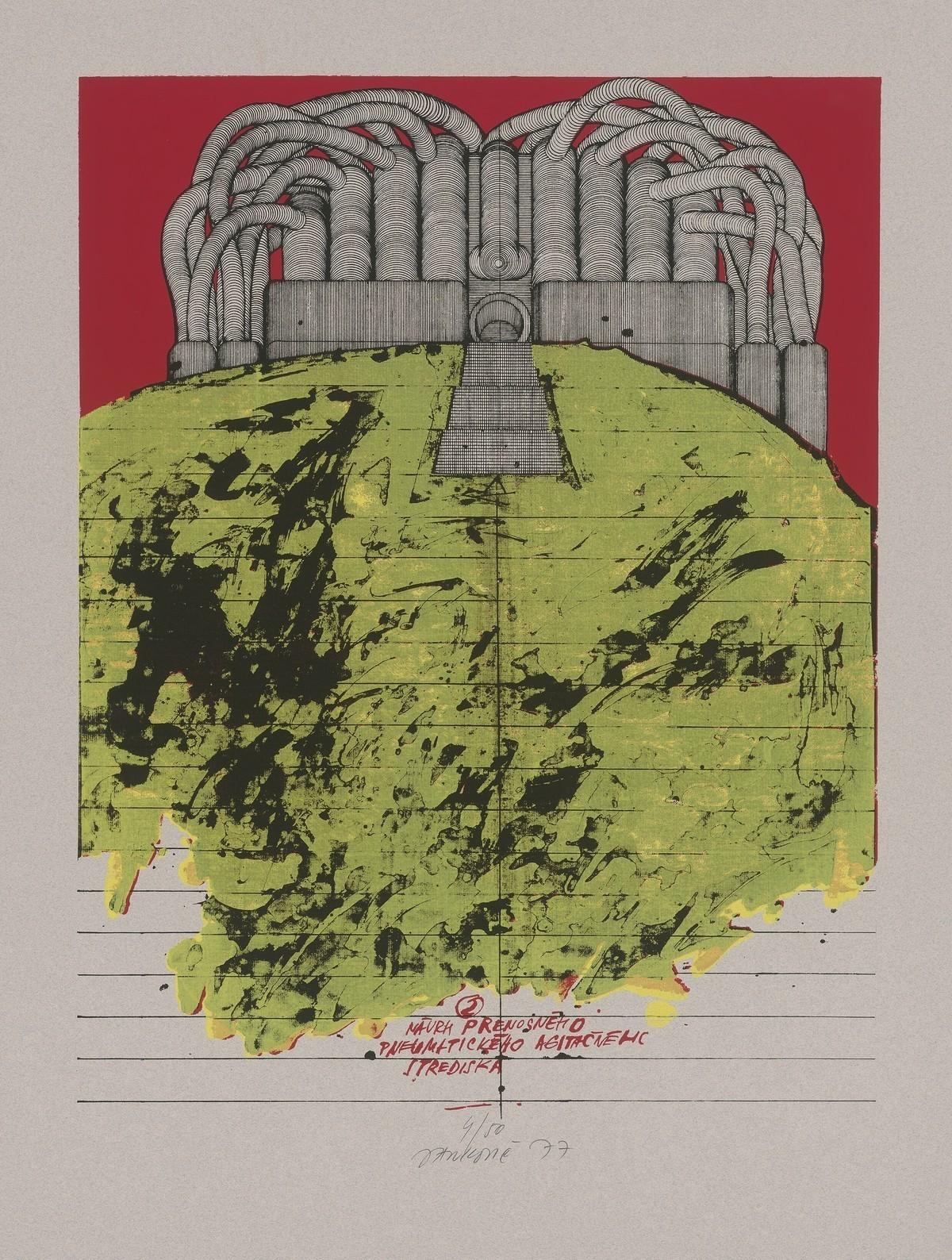 Jozef Jankovič, Architektúry X. Návrh prenosného pneumatického agitačného strediska. 1977. Slovenská národná galéria