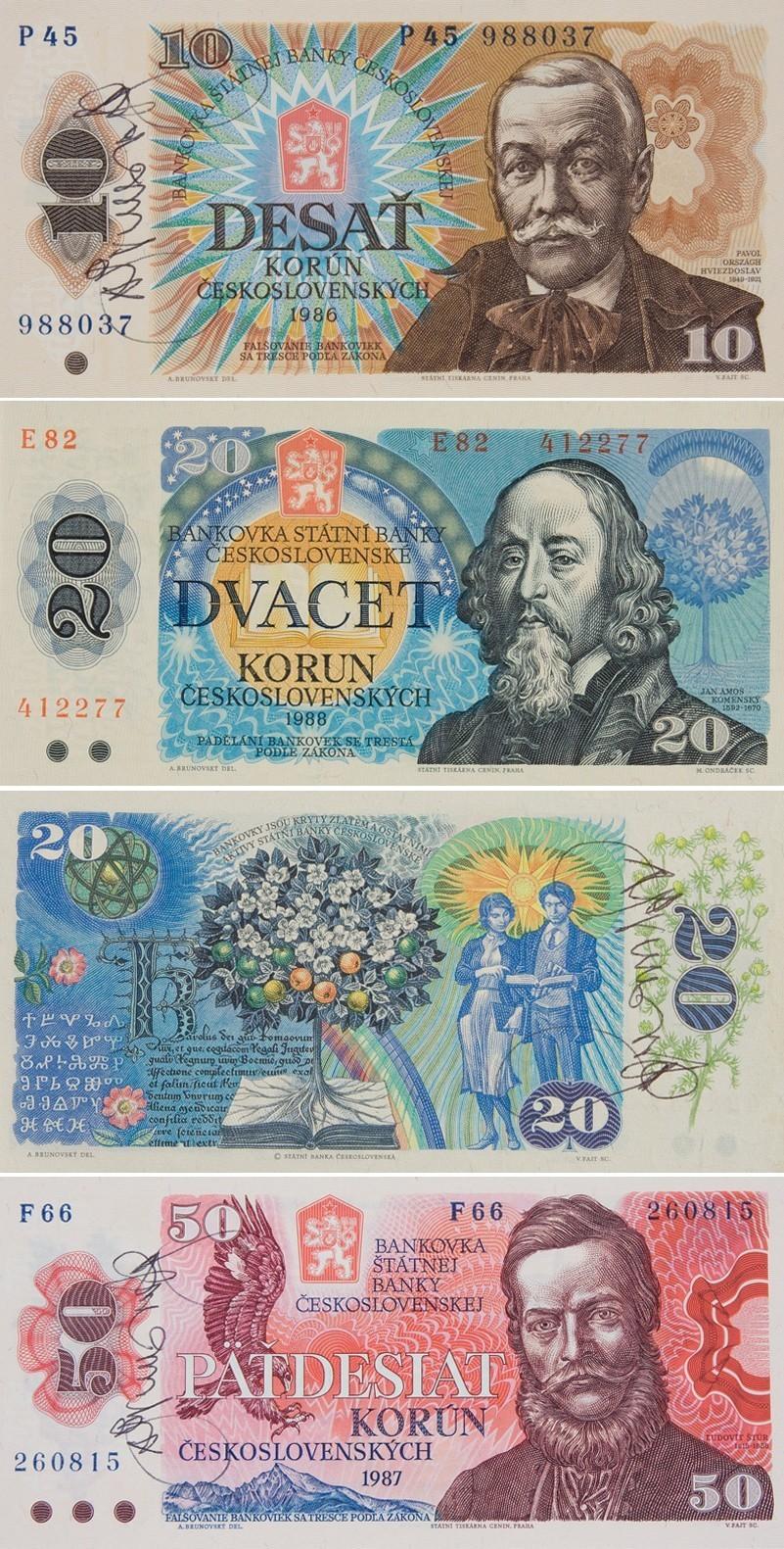 Albín Brunovský, Návrh bankoviek so signatúrou I. - IV.. 1986 – 1987. Slovenská národná galéria