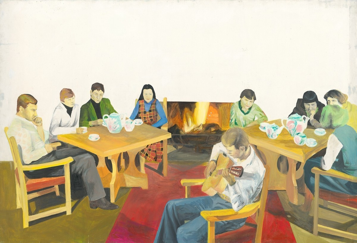 Gabriel Hošovský, Optimistická skupina pri krbe. 1988. Východoslovenská galéria