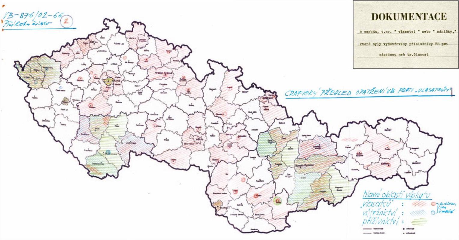 Mapa vlasáčov, výtržníkov a prížívníkov, Ministerstvo vnútra ČSSR. 1966. Wikimedia commons