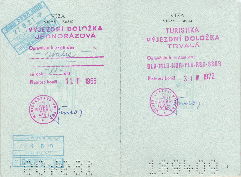 Cestovná doložka z roku 1967. Wikimedia commons
