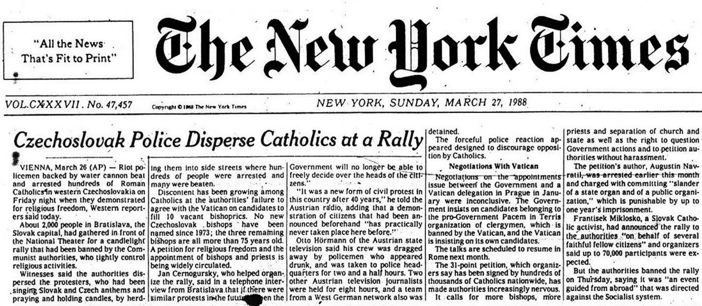 Článok o sviečkovej manifestácii, New York Times 27.3.1988. www.svieckovamanifestacia.sk