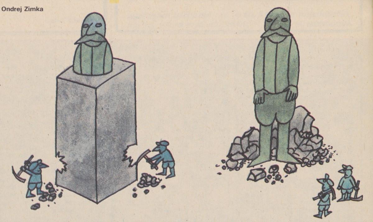 Ondrej Zimka, Osekaný monument. 1990. Časopis Roháč