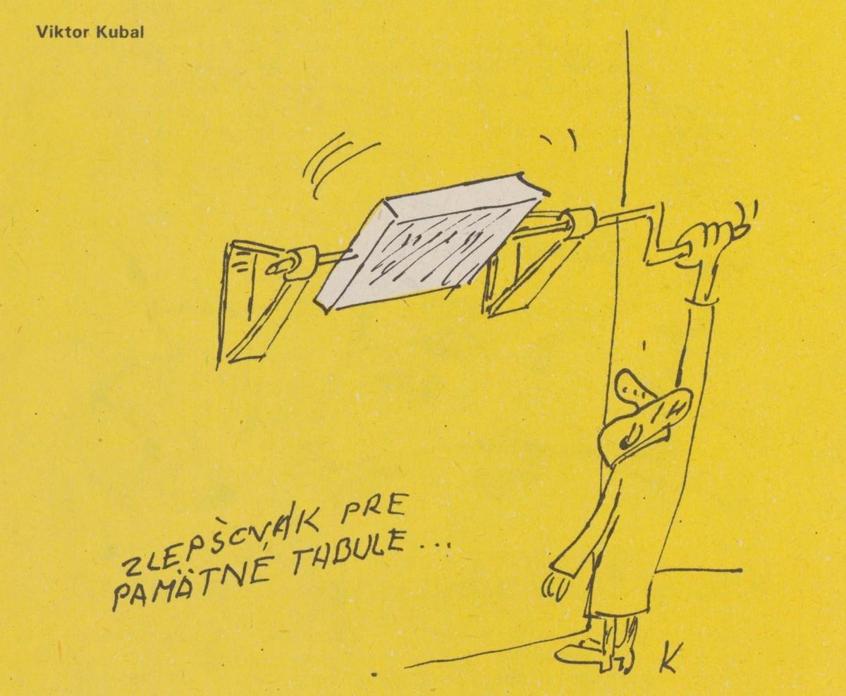 Viktor Kubal, Zlepšovák pre pamätné tabule. 1990. Časopis Roháč