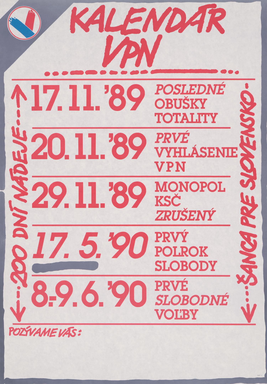 Karol Rosmány, Kalendár VPN. 1990. Slovenské múzeum dizajnu
