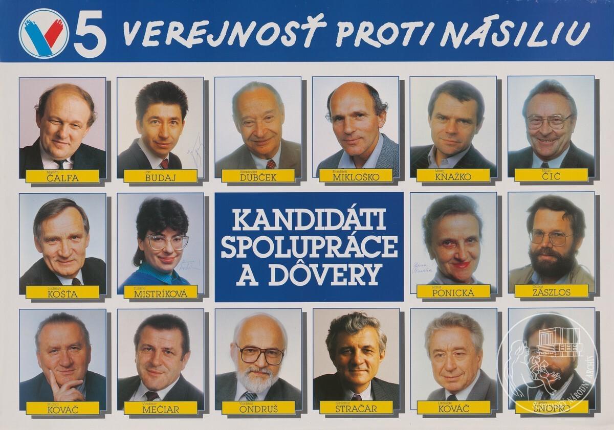"""Kandidáti spolupráce a dôvery"""". 1990. Slovenský národný archív"""