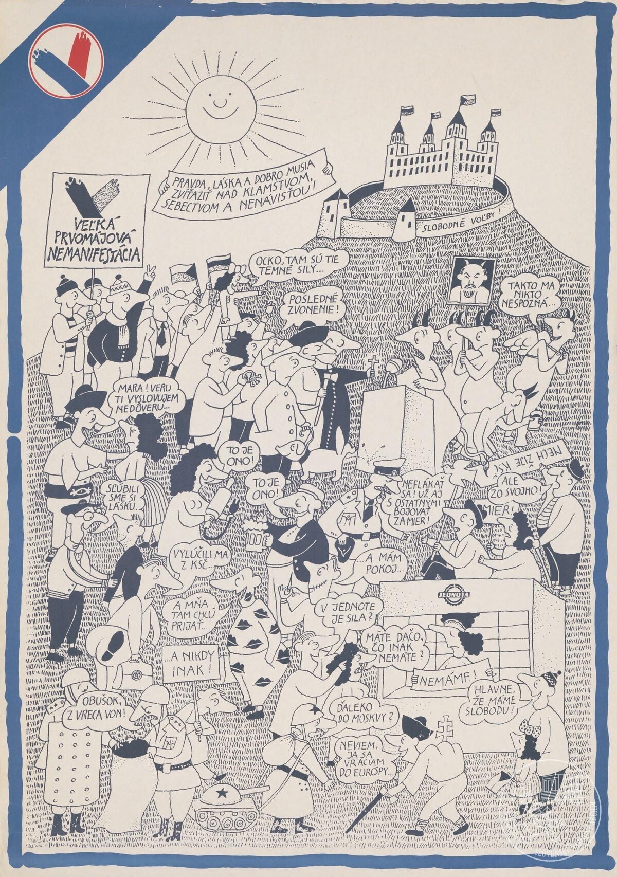Veľká prvomájová manifestácia. 1990. Slovenský národný archív