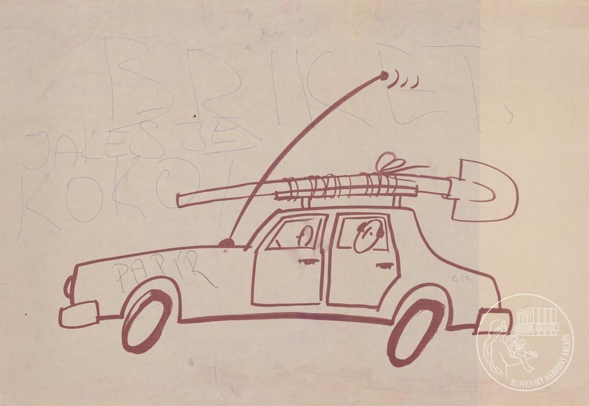 Vládne vozidlo 613 s lopatou upevnenou na strešnom nosiči auta. Slovenský národný archív