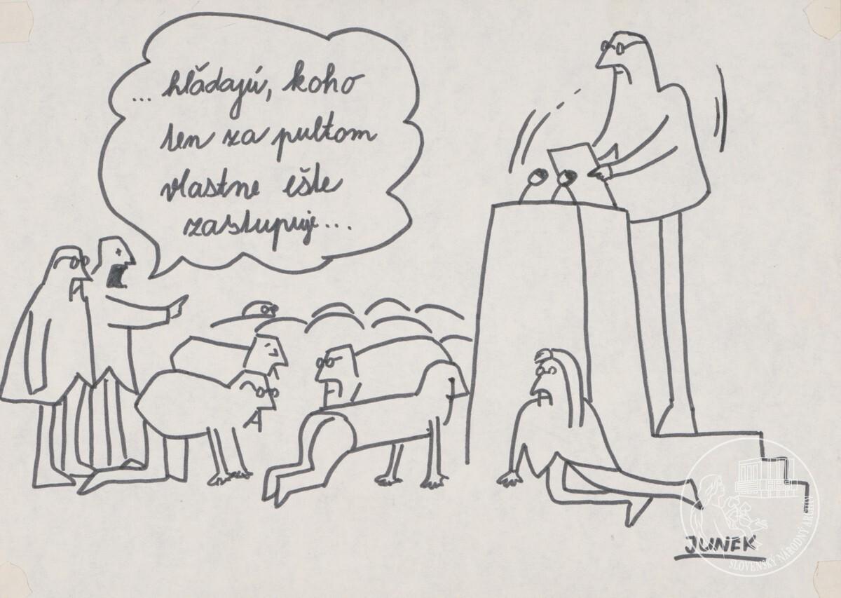 ... Hľadajú, koho ten za pultom vlastne ešte zastupuje... Junek. Slovenský národný archív