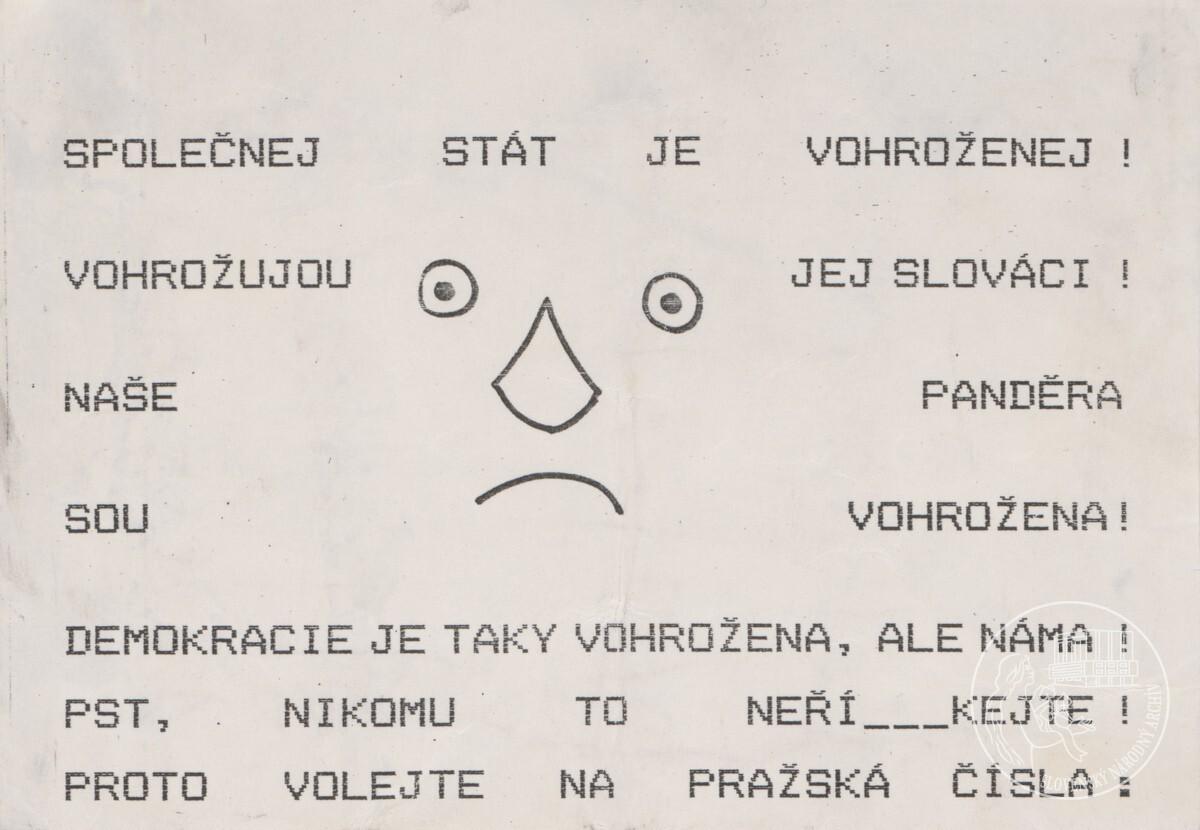 Společnej stát je vohroženej! Vohrožujou jej Slováci!.... 1989 – 1992. Slovenský národný archív