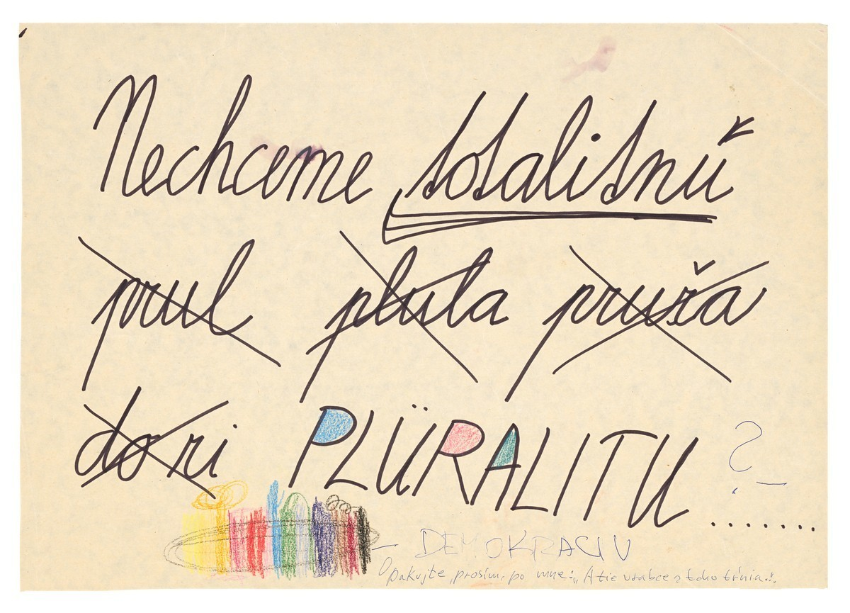 Nechceme totalitnú pluralitu.... 1989. Slovenské národné múzeum – Historické múzeum v Bratislave