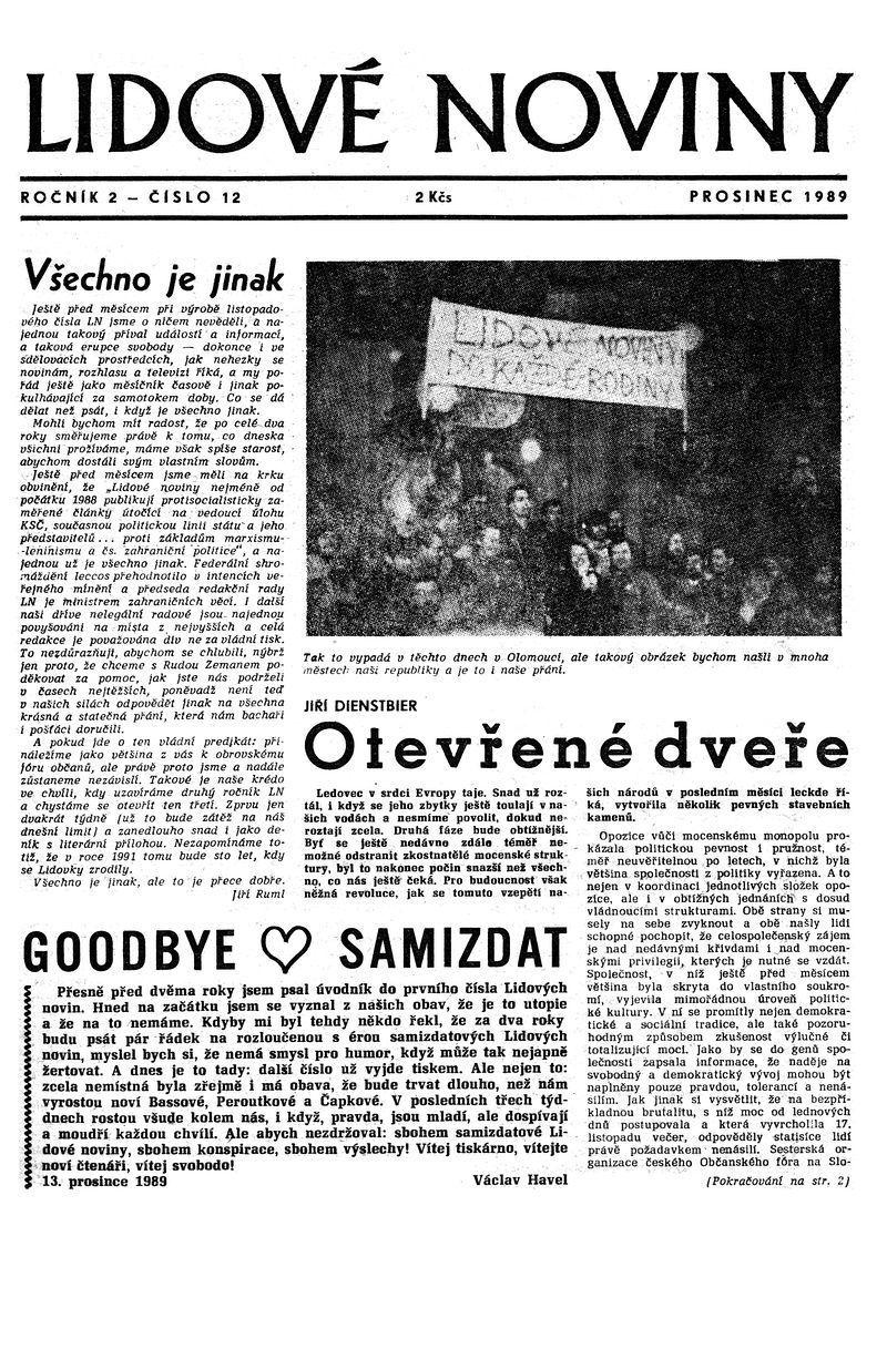 Úvodná strana posledného samizdatového vydania Lidových novin, december 1989. Archív Lidovky.cz