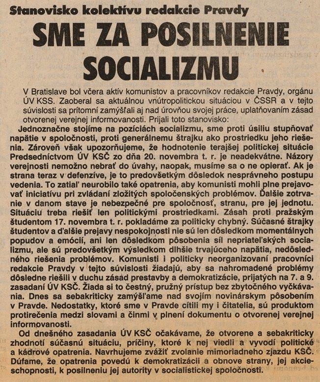 Stanovisko kolektívu redakcie Pravdy. 1989. Archív Dušana Kobliška