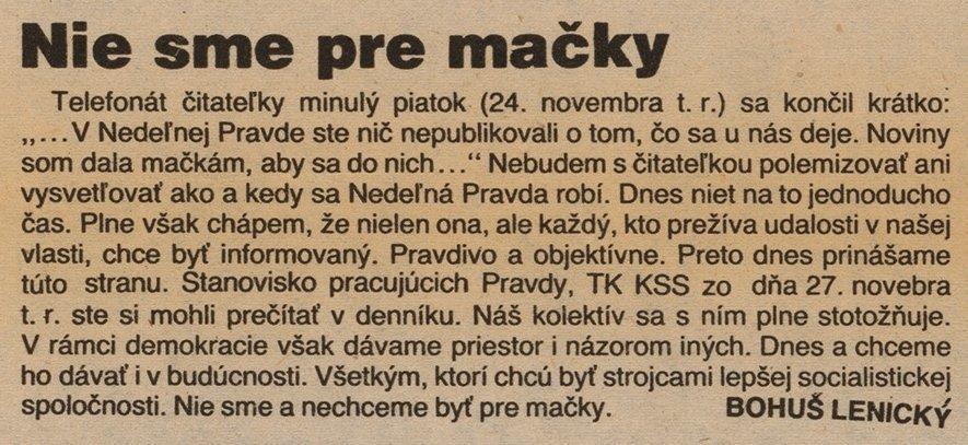 Nie sme pre mačky, článok v periodiku Nedeľná Pravda. 1989. Archív Dušana Kobliška