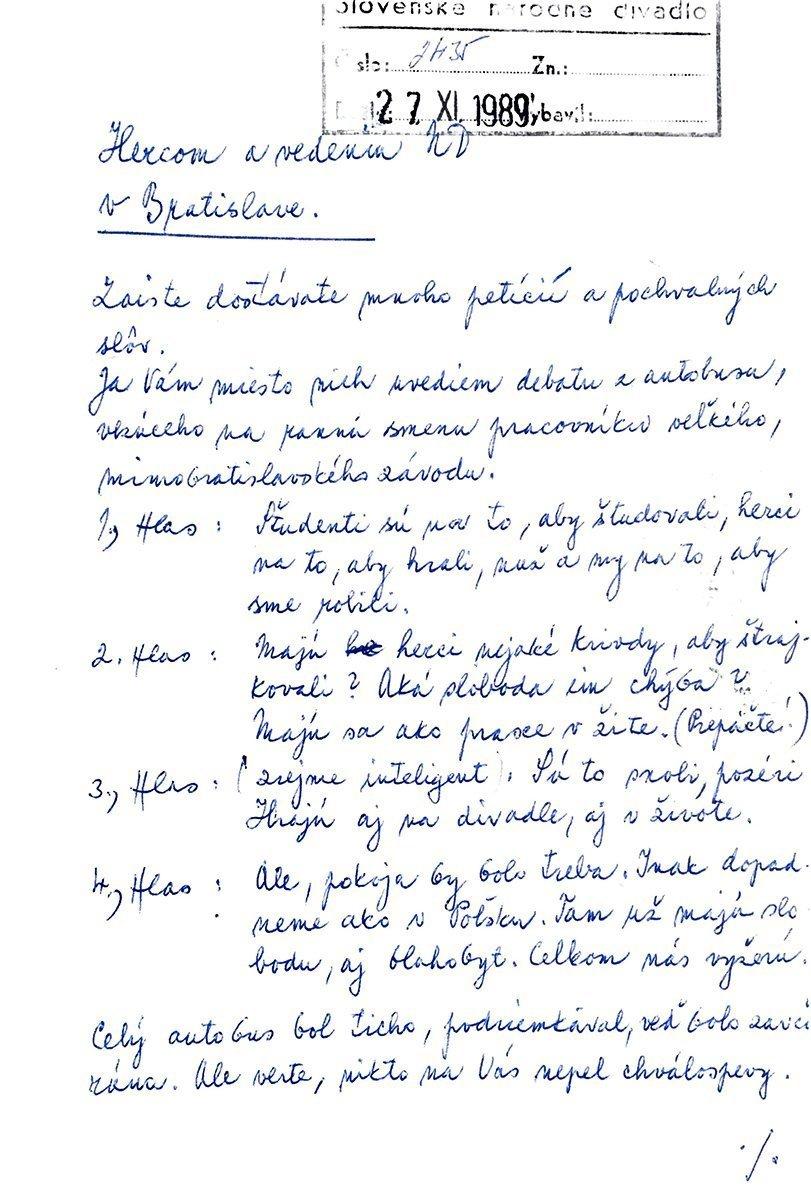 Dopis hercom Slovenského národného divadla. 1989. Archív SND