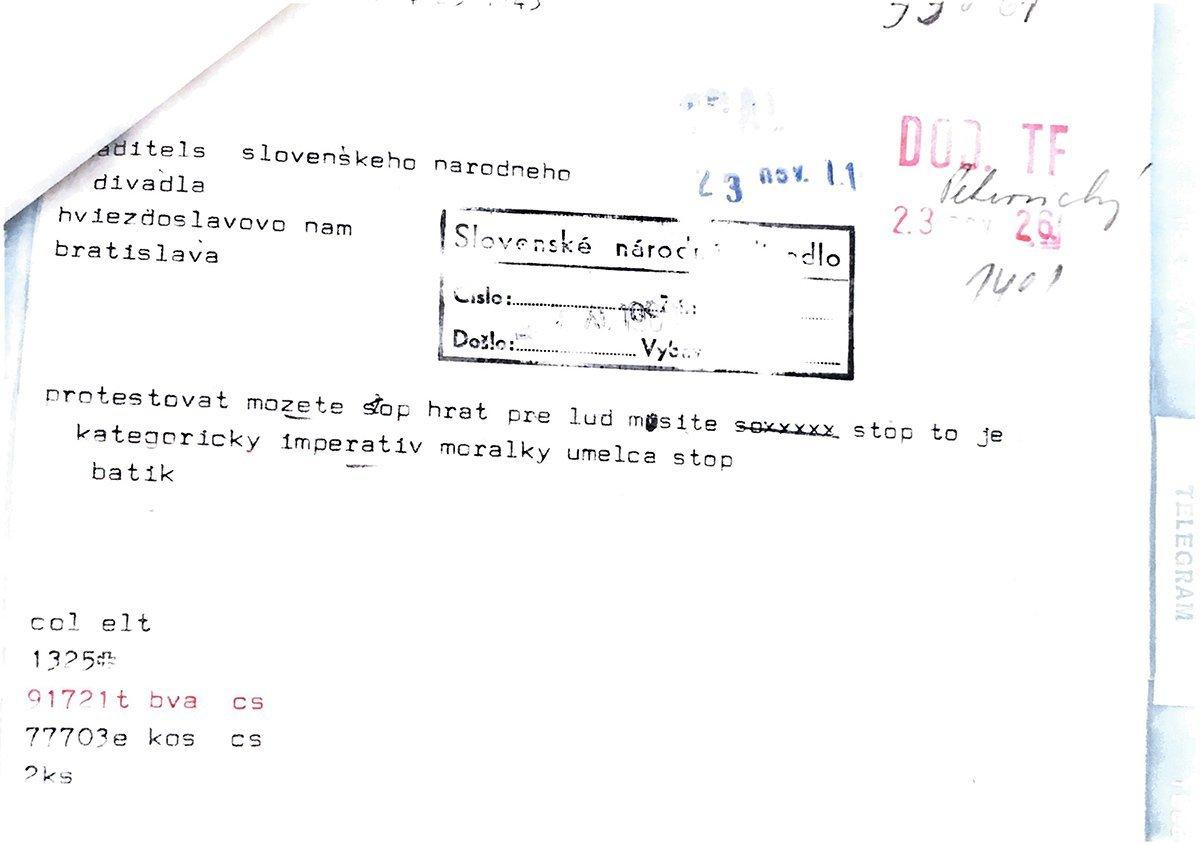 Telegram hercom Slovenského národného divadla. 1989. Archív SND
