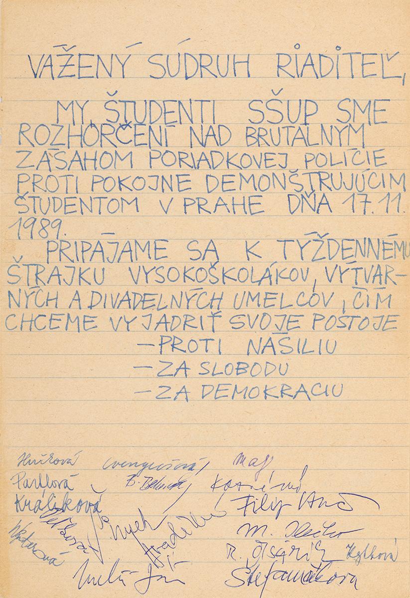 Petícia študentov a študentiek Školy umeleckého priemyslu. 1989. Archív Filipa Vanča