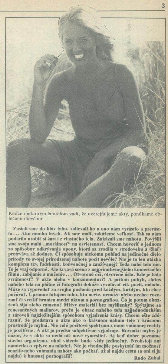 Rudo Zubal, O aktoch, článok v časopise Zmena. 1990. Univerzitná knižnica v Bratislave