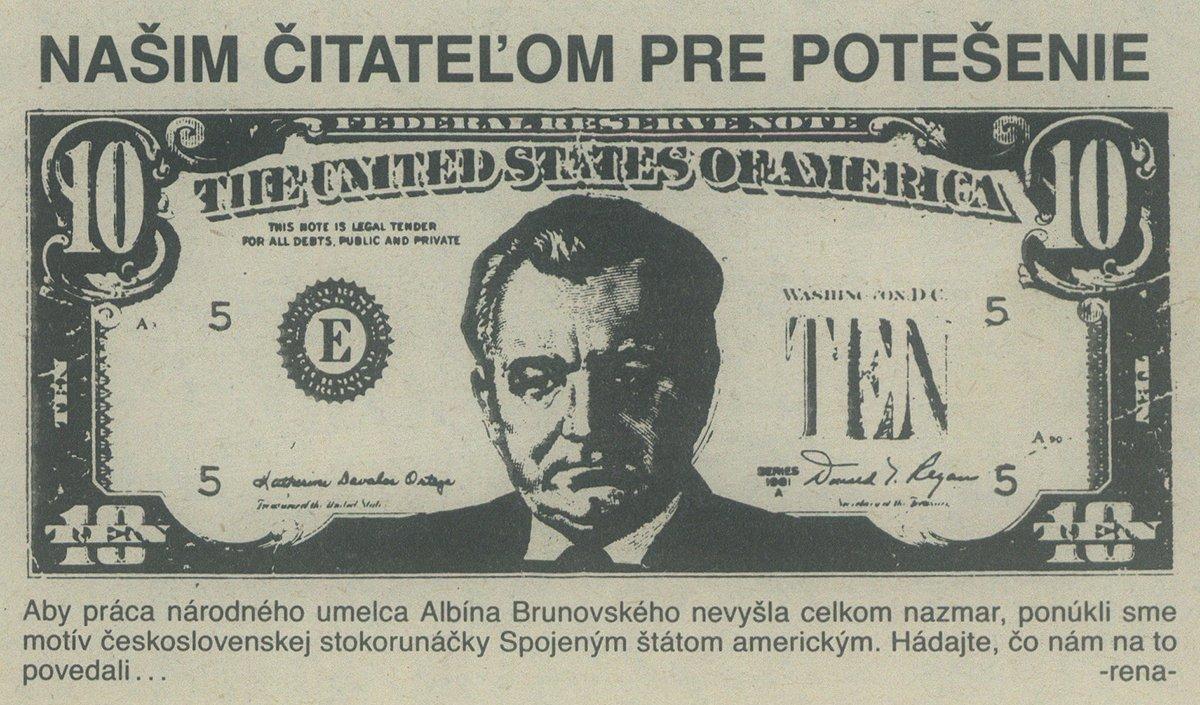 Bankovka zo Spojených štátov amerických, karikatúra v časopise Zmena. 1989. Univerzitná knižnica v Bratislave