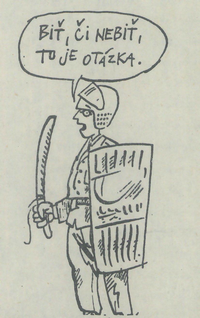 Biť či nebiť - karikatúra v časopise Zmena č. 10. 1989. Univerzitná knižnica v Bratislave
