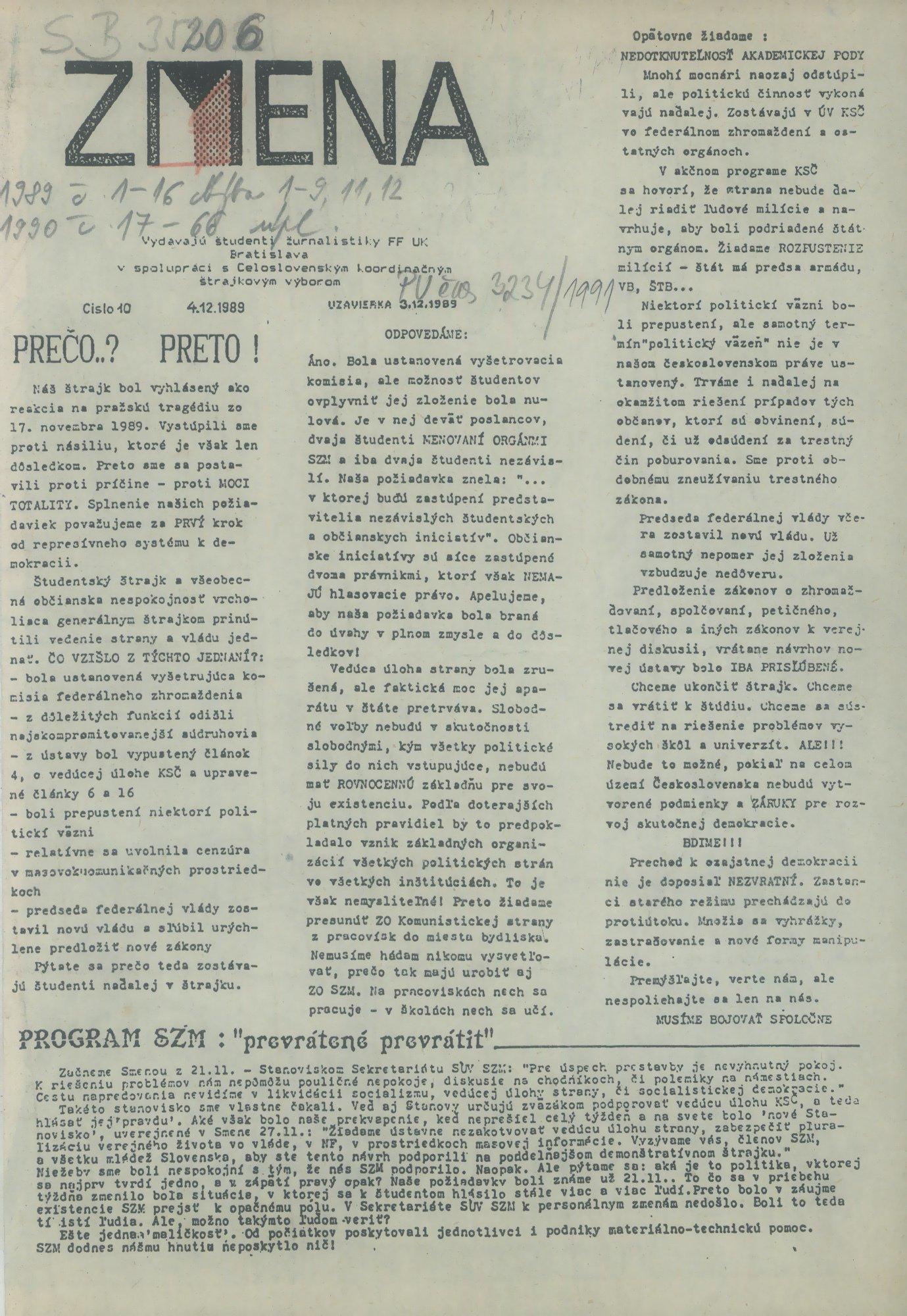 Zmena 10/1989 - časopis vydávaný študentmi žurnalistiky FF UK. Univerzitná knižnica v Bratislave