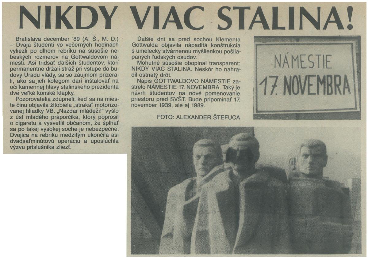 Nikdy viac Stalina! (článok z časopisu Zmena). 1989. Univerzitná knižnica v Bratislave