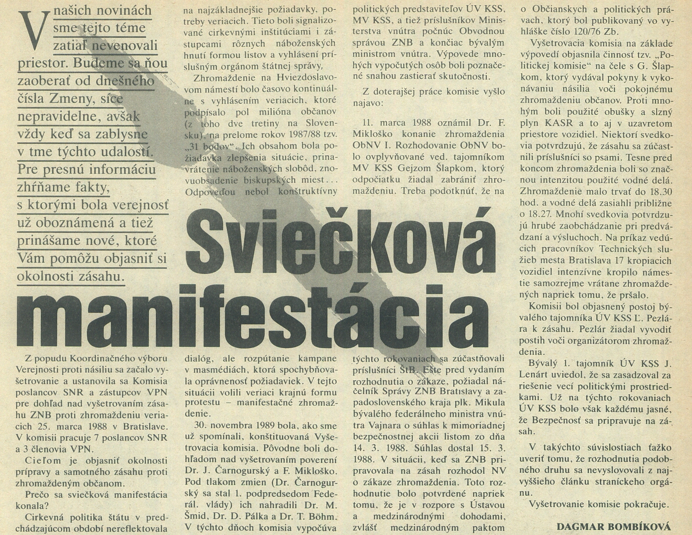 Dagmar Bombíková, Sviečková manifestácia, článok v časopise Zmena. 1990. Univerzitná knižnica v Bratislave
