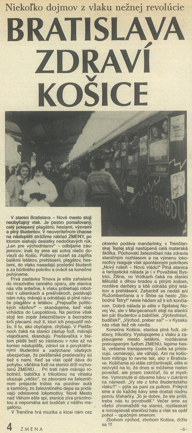 Bratislava zdraví Košice, článok v časopise Zmena. 1989. Univerzitná knižnica v Bratislave